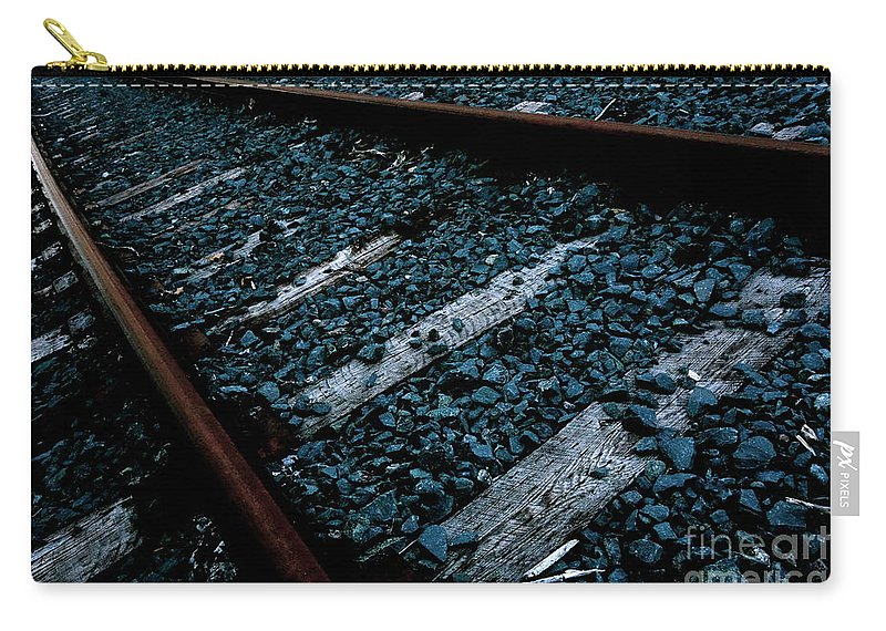 Railroad Carry-all Pouch featuring the photograph On Track by Jacqueline Athmann