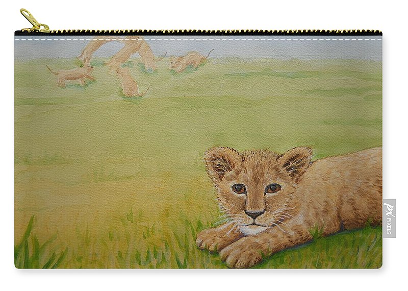Lion Carry-all Pouch featuring the painting Once There Was A Lion Named Leo by Sheena Kohlmeyer