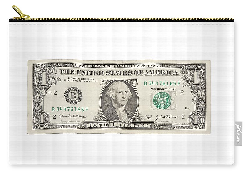 One Dollar Bill Carry-all Pouch featuring the photograph One Dollar Bill On White Background by Keith Webber Jr