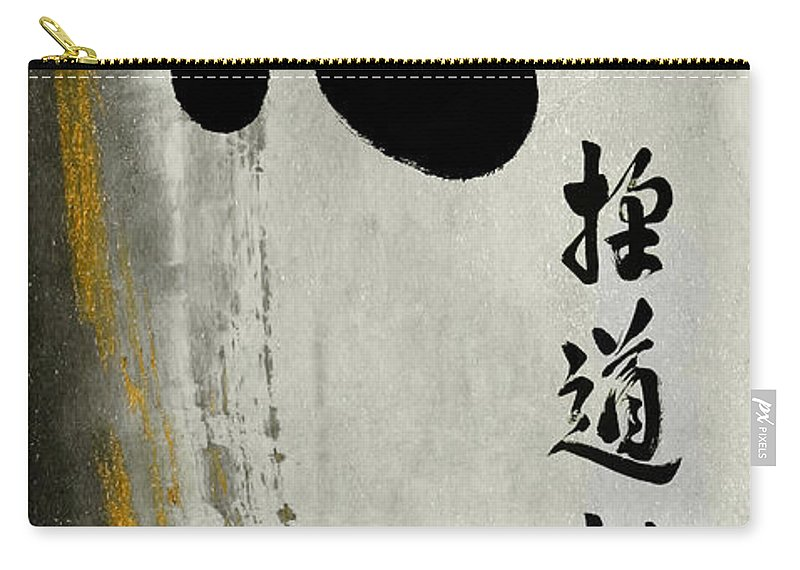 Zen Teaching Carry-all Pouch featuring the mixed media One Mind Seeking The Way With Unceasing Effort by Peter v Quenter