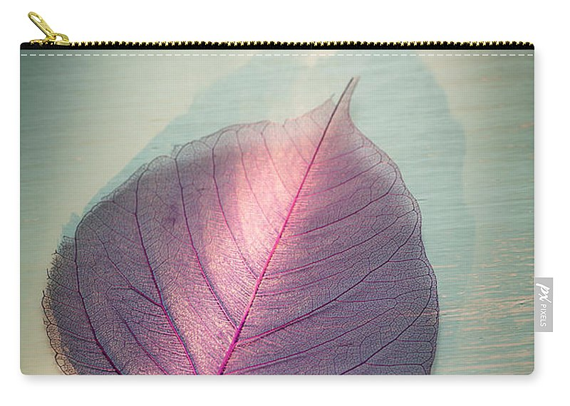 Leaf Carry-all Pouch featuring the photograph One Purple Leaf by Jan Bickerton
