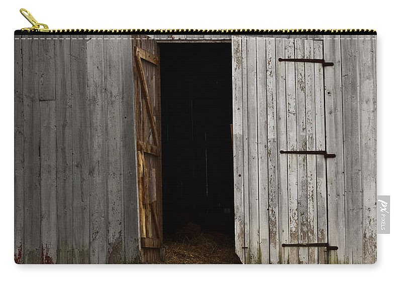 Old; Farm; Barn; Entrance; Door; Rural; Landscape; Outside; Outdoors; Roof; Country; Countryside; Grass; Open; Opened; Worn; Wood; Path; Farm; Building Carry-all Pouch featuring the photograph Open Doorways by Margie Hurwich
