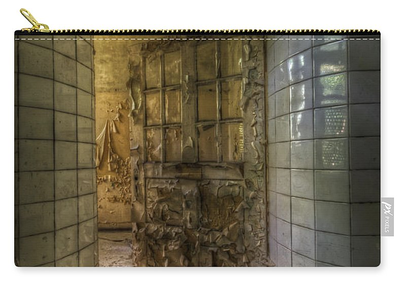 Urbex Carry-all Pouch featuring the digital art Open Flake Door by Nathan Wright