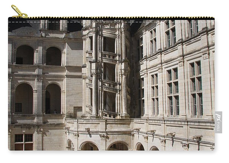 Palace Carry-all Pouch featuring the photograph Open Staircase Chateau Chambord - France by Christiane Schulze Art And Photography
