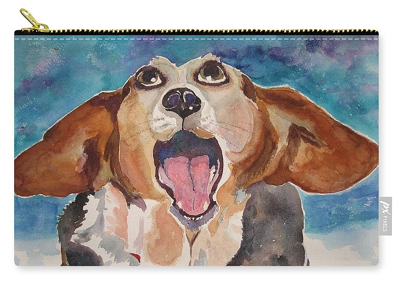 Basset Hound Carry-all Pouch featuring the painting Opera Dog by Brenda Kennerly