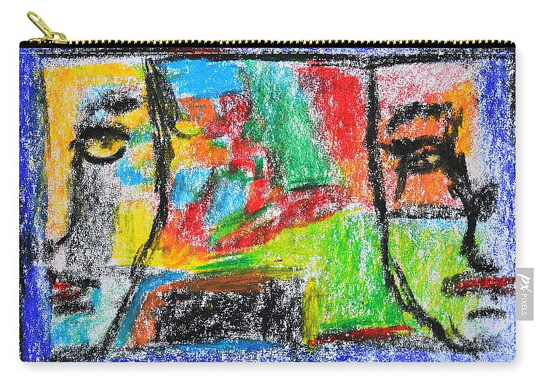Face Carry-all Pouch featuring the painting Opposites Attract by Donna Blackhall
