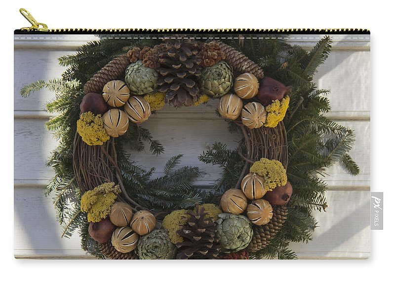 Colonial Williamsburg Carry-all Pouch featuring the photograph Orange And Artichoke Wreath by Teresa Mucha