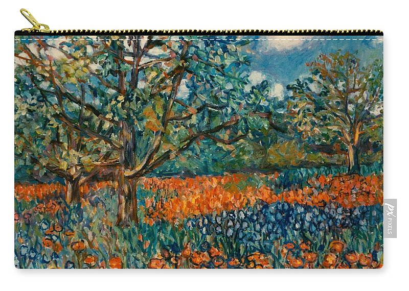 Flowers Carry-all Pouch featuring the painting Orange and Blue Flower Field by Kendall Kessler
