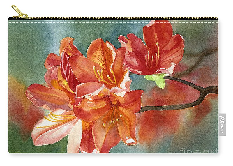 Orange Carry-all Pouch featuring the painting Orange Azalea With Background by Sharon Freeman