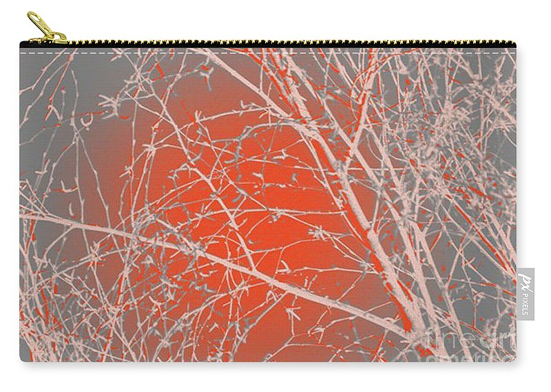 Orange Carry-all Pouch featuring the digital art Orange Branches by Carol Lynch