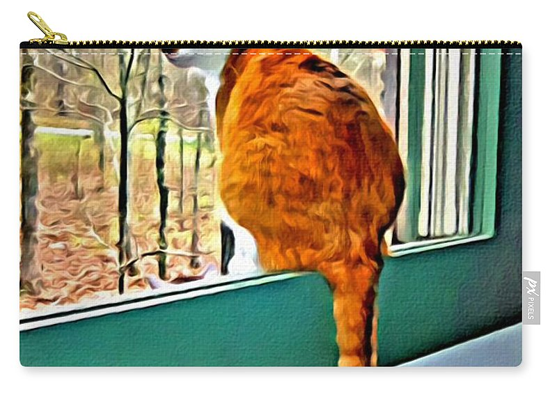 Orange Cat In Window Carry-all Pouch featuring the photograph Orange Cat In Window by Rebecca Korpita