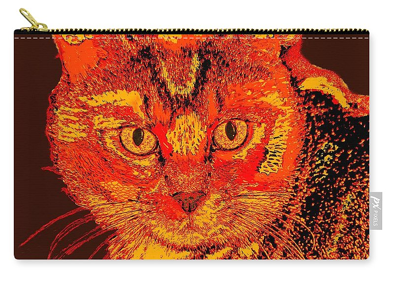 Cat Prints Carry-all Pouch featuring the digital art Orange Cat by Marlene Watson
