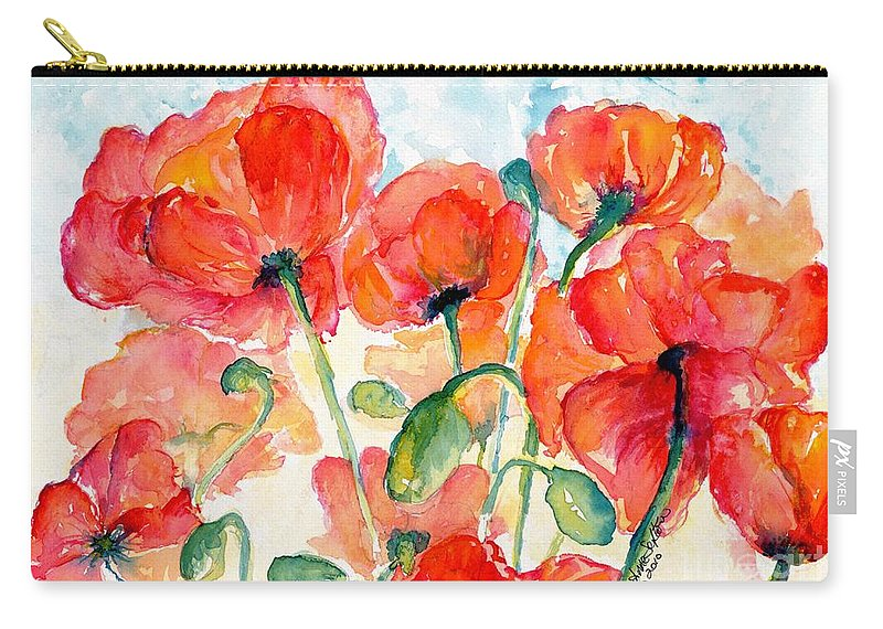 Orange Carry-all Pouch featuring the painting Orange Field Of Poppies Watercolor by CheyAnne Sexton