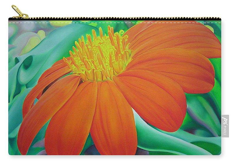Flowers Carry-all Pouch featuring the painting Orange Flower by Joshua Morton