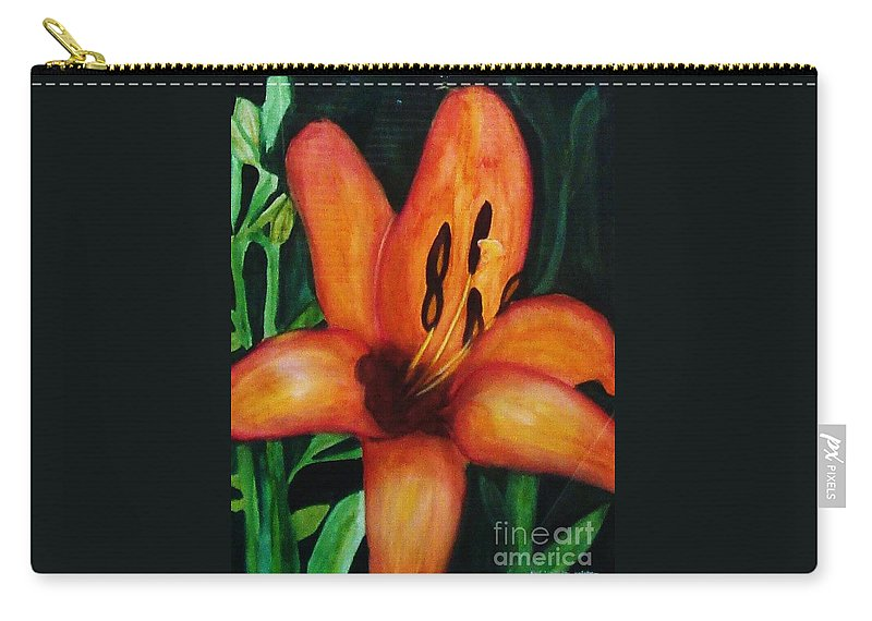 Flower Paintings Carry-all Pouch featuring the painting Beautiful Lily Flower by Yael VanGruber