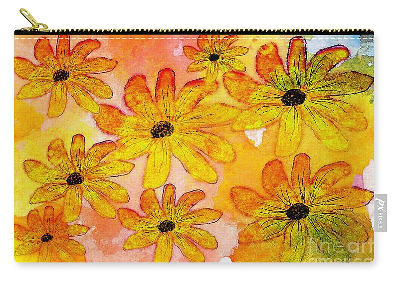 Nature Carry-all Pouch featuring the digital art Orange Flowers Galore Digital Art by Debbie Portwood