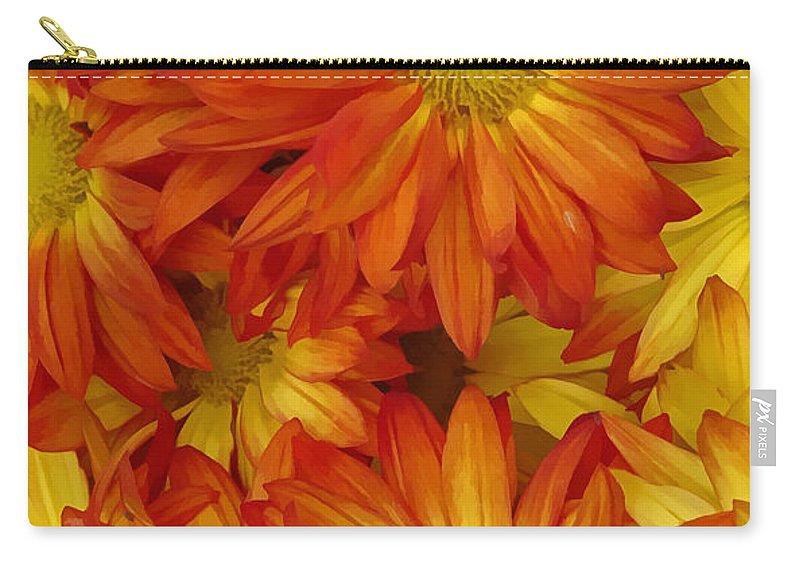 Yellow Carry-all Pouch featuring the digital art Orange Gazania by Peter Piatt