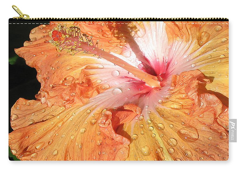 Orange Hibiscus Carry-all Pouch featuring the photograph Orange Hibiscus After The Rain by Connie Fox