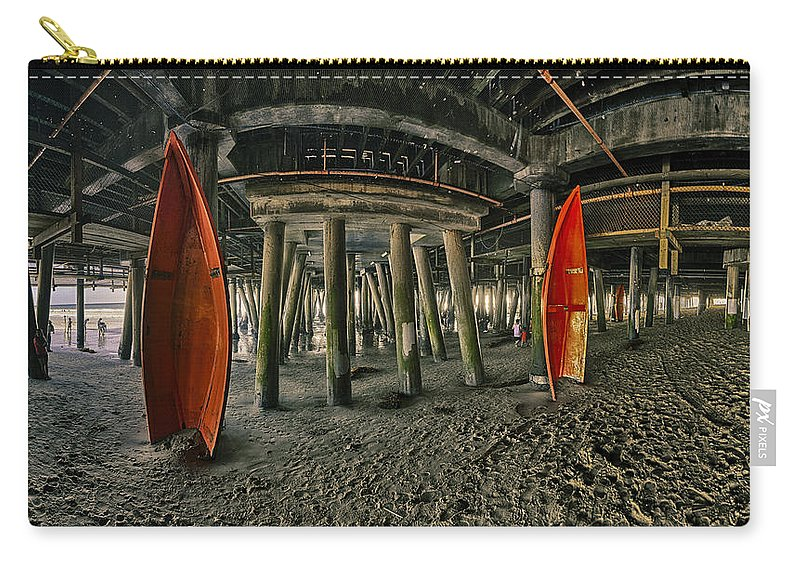 Pier Carry-all Pouch featuring the photograph Orange Life Boats Under The Santa Monica Pier by Scott Campbell