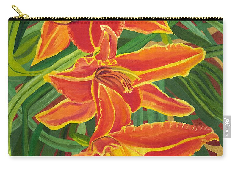 Orange Lilies Carry-all Pouch featuring the painting Orange Lilies by Annette M Stevenson