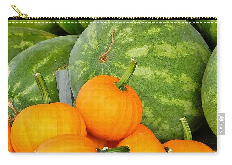 Watermelons Carry-all Pouch featuring the photograph Orange On Green by Jean Goodwin Brooks