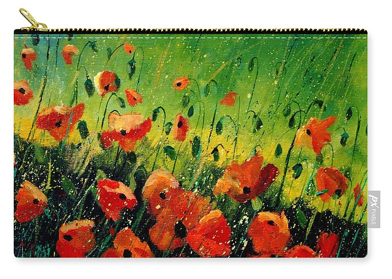 Poppies Carry-all Pouch featuring the painting Orange poppies by Pol Ledent