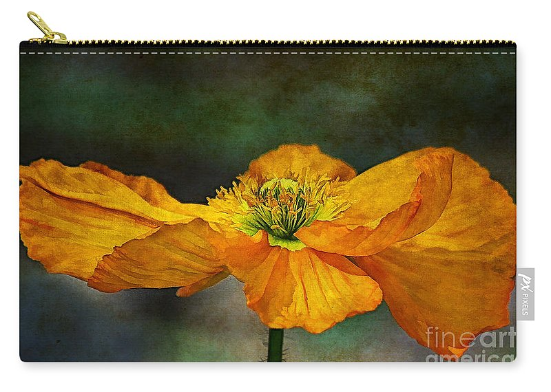 Poppy Art Carry-all Pouch featuring the digital art Orange Poppy by Zsuzsanna Szugyi