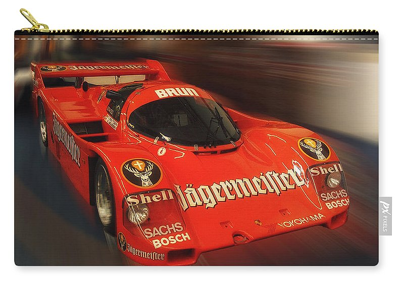 Race Car Carry-all Pouch featuring the photograph Orange Race Car by Thomas Woolworth