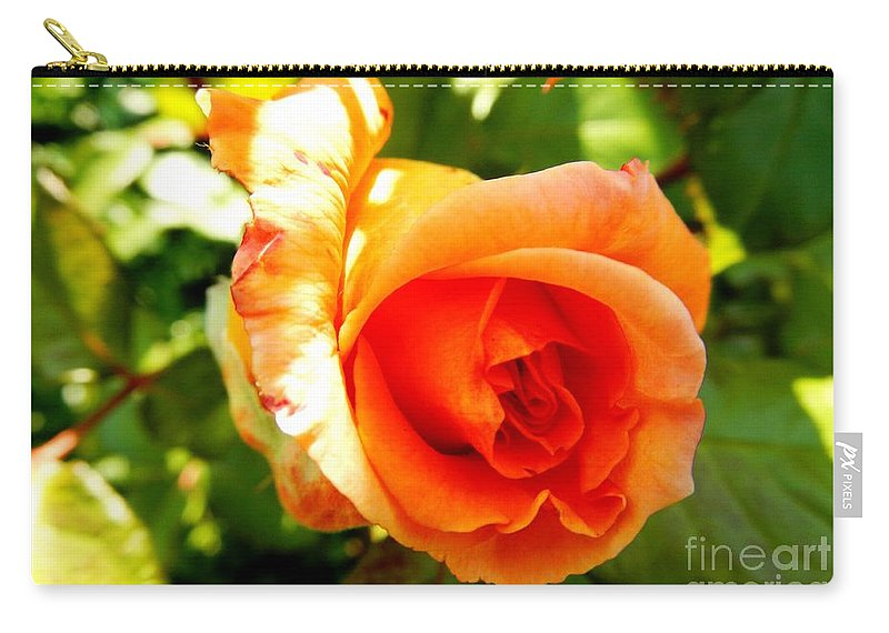 Floral Carry-all Pouch featuring the photograph Orange Rose Bloom by Loreta Mickiene