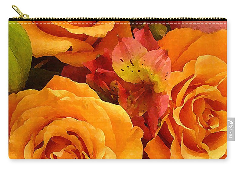 Roses Carry-all Pouch featuring the painting Orange Roses by Amy Vangsgard