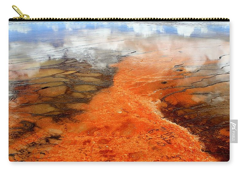 Yellowstone National Park Carry-all Pouch featuring the photograph Orange Stones by Catie Canetti