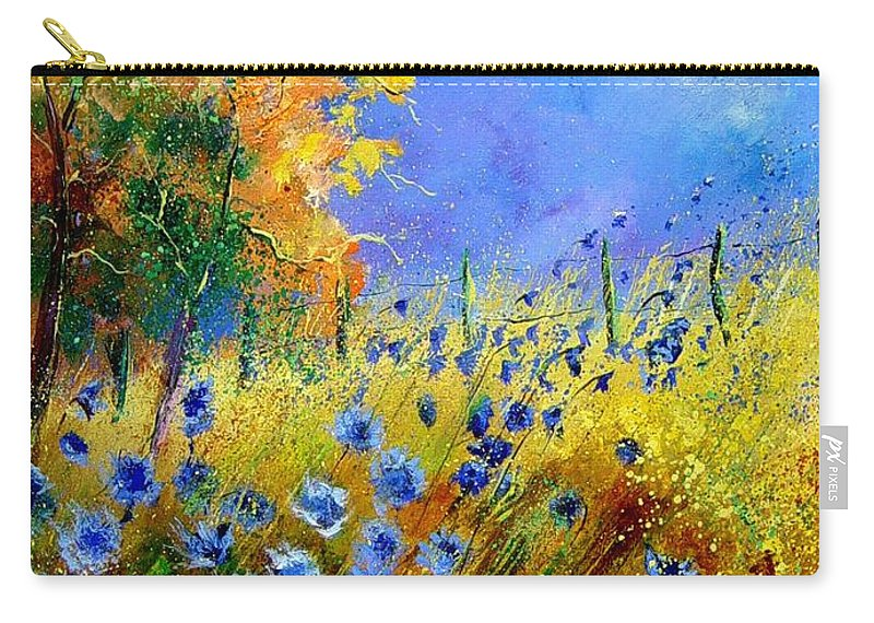 Poppies Carry-all Pouch featuring the painting Orange Tree And Blue Cornflowers by Pol Ledent