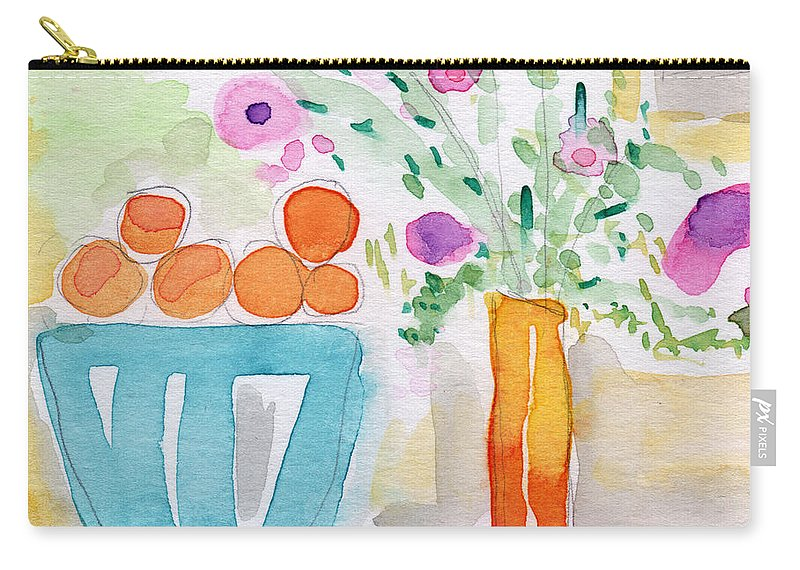 Oranges Carry-all Pouch featuring the painting Oranges In Blue Bowl- Watercolor Painting by Linda Woods