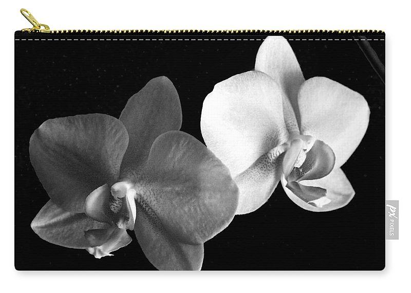 Floral Carry-all Pouch featuring the photograph Orchid in black and white by Steve Karol