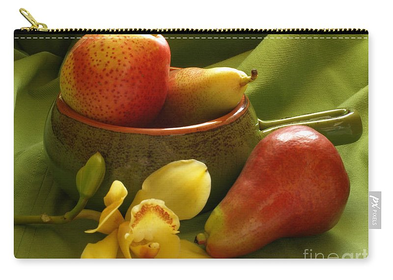 Still Life Carry-all Pouch featuring the photograph Orchid With Pears by Jacklyn Duryea Fraizer