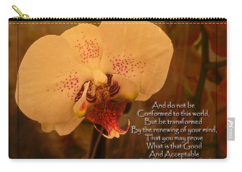 Nature Carry-all Pouch featuring the photograph Orchid With Verse by Debbie Portwood