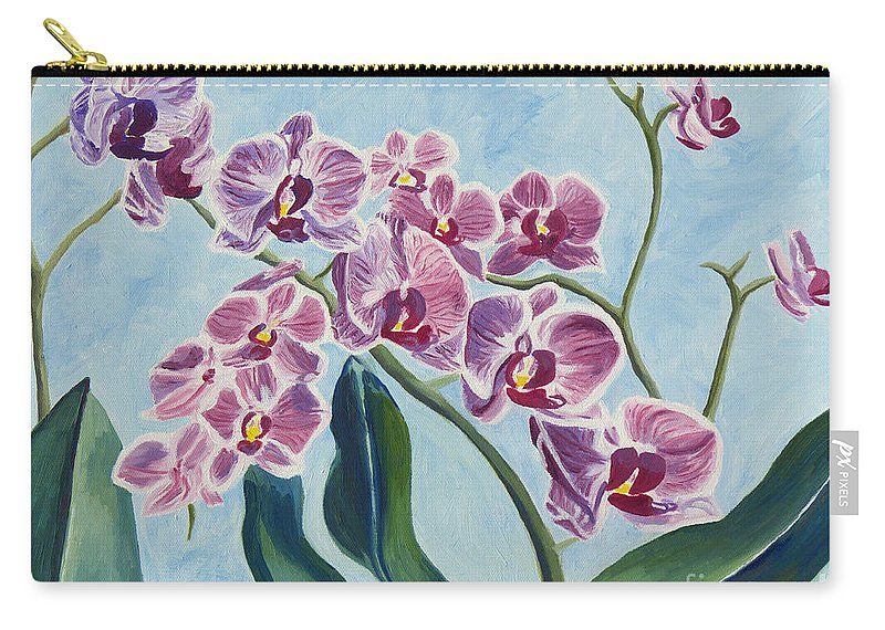 Orchids Carry-all Pouch featuring the painting Orchids by Annette M Stevenson