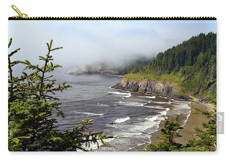 Shore Carry-all Pouch featuring the photograph Oregon Coastline by Michelle Calkins