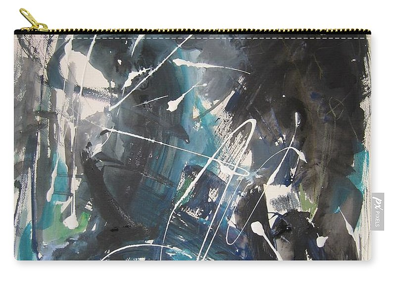 Blue Black Paintings Carry-all Pouch featuring the painting original abstract blue and black painting for sale-Blue Valley by Seon-Jeong Kim