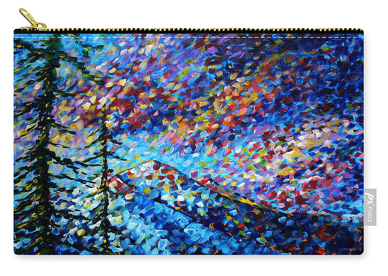 Abstract Carry-all Pouch featuring the painting Original Abstract Impressionist Landscape Contemporary Art by MADART Mountain Glory by Megan Duncanson