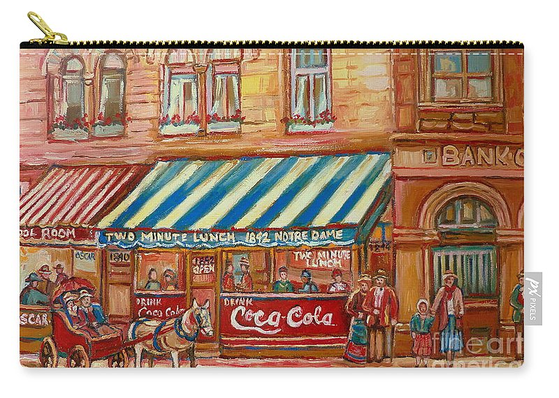 Montreal Scenes Carry-all Pouch featuring the painting Original Bank Notre Dame Street by Carole Spandau
