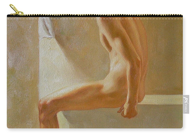 Original Carry-all Pouch featuring the painting Original Classic Oil Painting Body Man Art- Male Nude In The Bathroom#16-2-3-01 by Hongtao   Huang