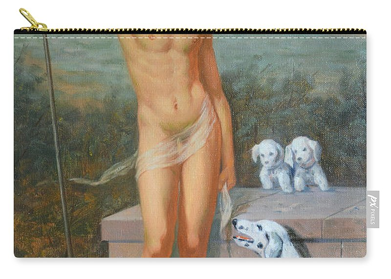 Original. Oil Painting Carry-all Pouch featuring the painting Original Classic Oil Painting Man Body Art-male Nude And Dogs #16-2-4-11 by Hongtao   Huang