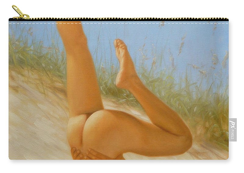 Art Carry-all Pouch featuring the painting Original Oil Painting Man Art Male Nude On Sand On Canvas#16-2-5-05 by Hongtao   Huang
