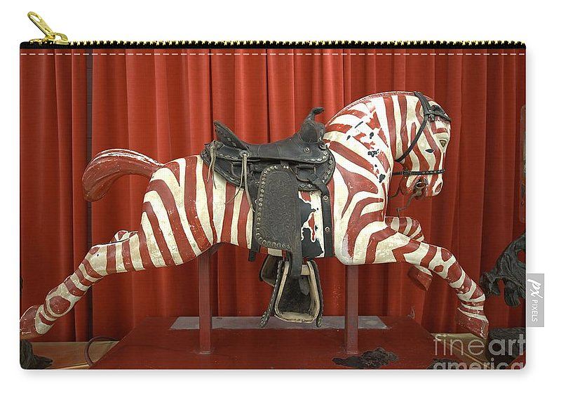 Original Zebra Carousel Ride Carry-all Pouch featuring the photograph Original Zebra Carousel Ride by L Wright