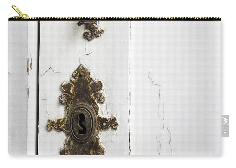 Ornate; Old; Building; Door; Doorway; Wood; Rustic; White; Peeling; Chipped; Painted; Rust; Metal; Closed; Aged; Entrance; Dirty; Facade; Grunge; Cracked; Handle; Keyhole; Rusty; Wooden; Beautiful; Lovely; Lock; Locked Carry-all Pouch featuring the photograph Ornate Lock by Margie Hurwich