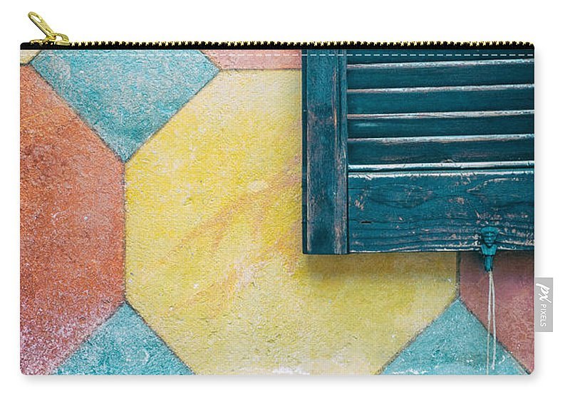 Abstract Carry-all Pouch featuring the photograph Ornate Wall With Shutter by Silvia Ganora