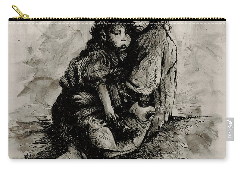 Human Figure Carry-all Pouch featuring the painting Orphans by Rachel Christine Nowicki