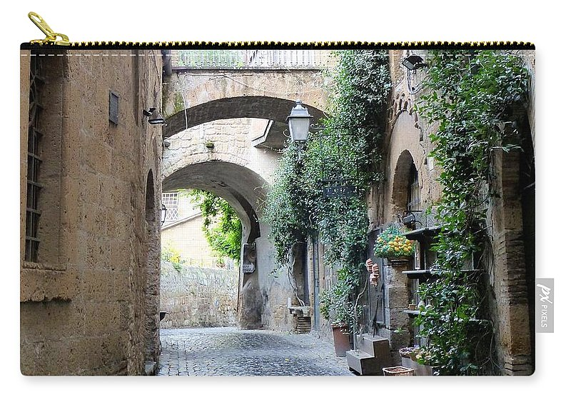 Italy Carry-all Pouch featuring the photograph Orvieto Street With Arches by Richard Rutan