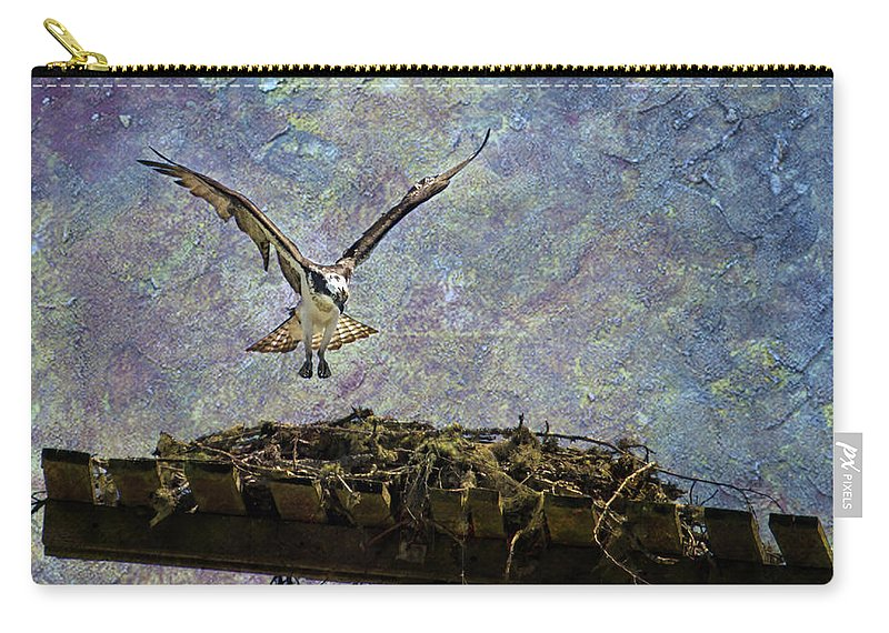 Osprey Carry-all Pouch featuring the photograph Osprey-coming Home by Belinda Greb